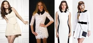 самые интересные стили сочетания белых платьев, сочетающихся с контрастным черным воротником
