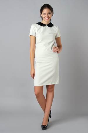 идеальное сочетание - белое платье, дополненное контрастным черным воротником