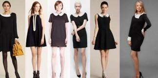 самые привлекательные и модные сочетания черного платье, дополненного ярким белым воротником и аксессуаров к нему