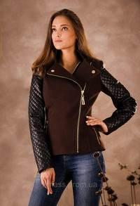 где лучше купить пальто с кожаными рукавами