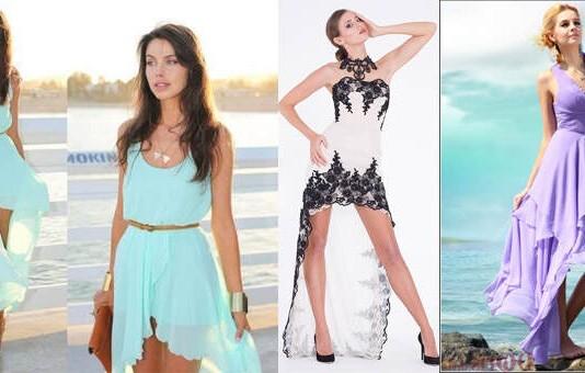 платье короткое спереди длинное сзади или каскадное - как выбрать, с чем носить, сколько стоит, рекомендации стилистов