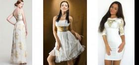 Как выбрать платье белого цвета с золотыми вставками: советы, стоимость, отзывы