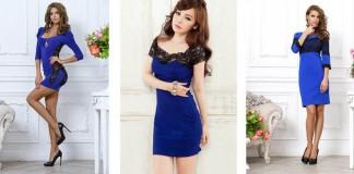 синее платье с черным кружевом - сколько стоит, где купить, с чем носить