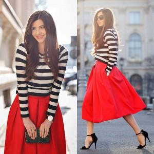 С чем сочетается красная юбка?