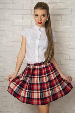 Модная юбка из ткани в пол - фото