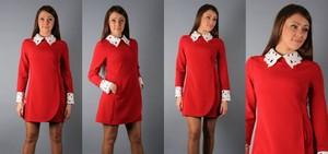 выберите идеальный и модный вариант платья с цветным воротником и контрастными манжетами