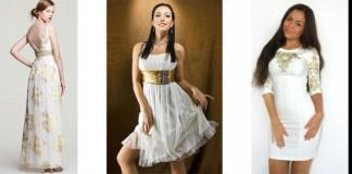 Все про платья белого цвета с золотыми вставками и принтами - цены, советы по выбору, отзывы
