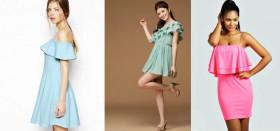 Как выбрать удачное платье с воланом на плечах?