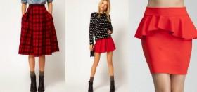 Что носить с красной юбкой разных фасонов?